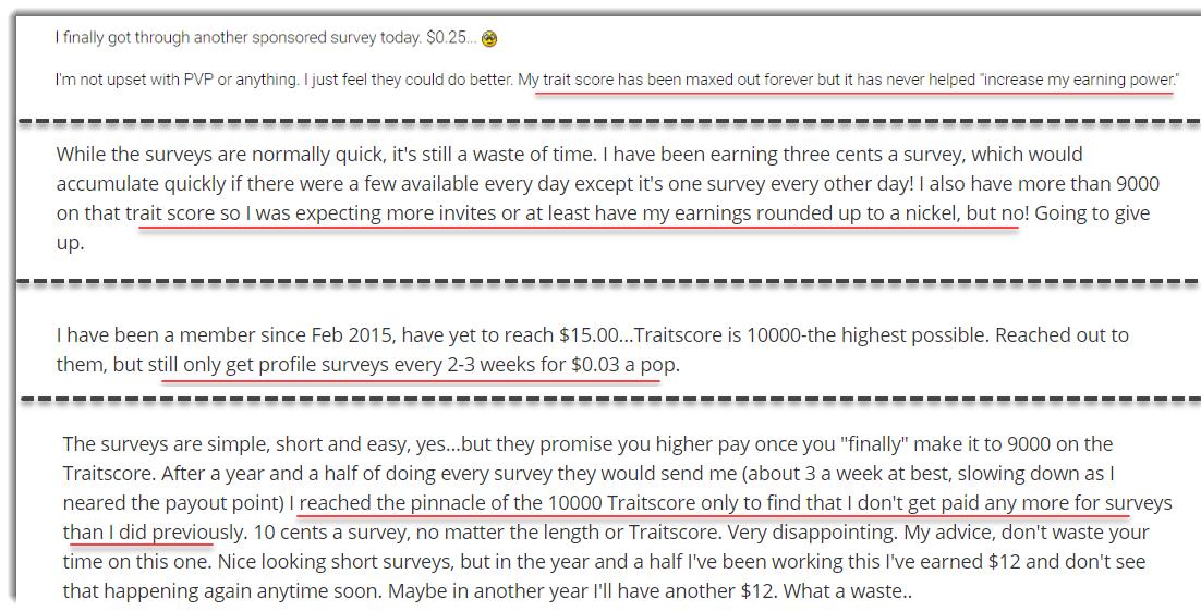 Trait score not affecting earnings complaint