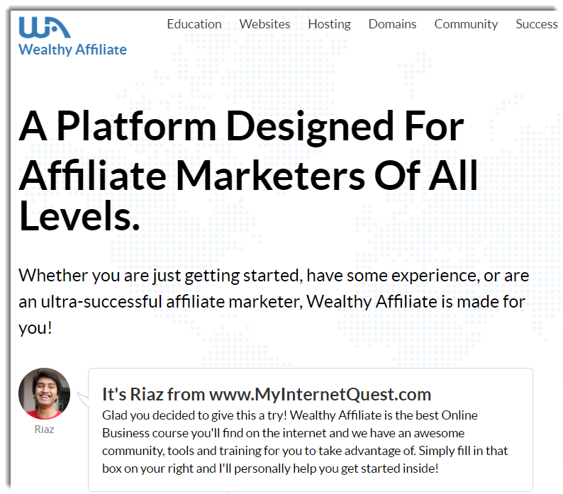 Wealthy Affiliate Home Page 2020
