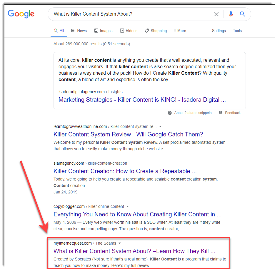 killer content system google search results