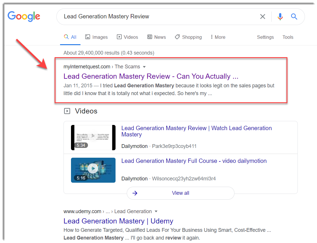 lead generation mastery on Google search