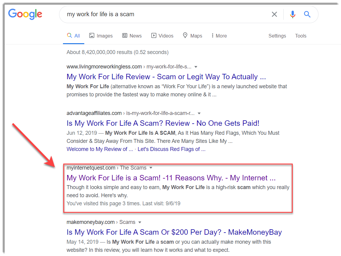 my work for life is a scam google search results